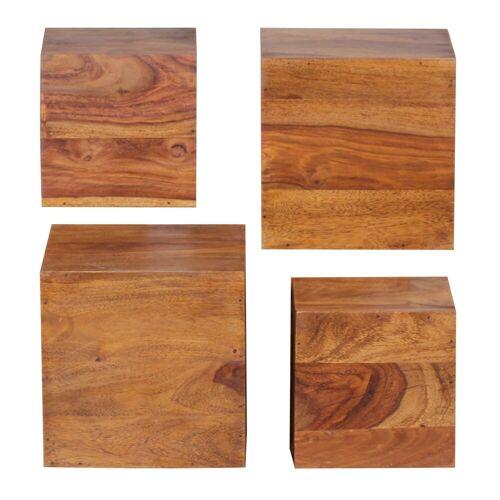FINEBUY Wandregal »SuVa2482_1«, 4er Set e Massivholz Holzregal Landhaus Hängeregal 25 cm und 20 cm Echtholz Wandboard