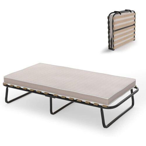 COSTWAY Gästebett »Metallbett« 190 x 80cm Gästebett mit Memoryschaum Matratze, Einzelbett klappbar, bis 90KG belastbar