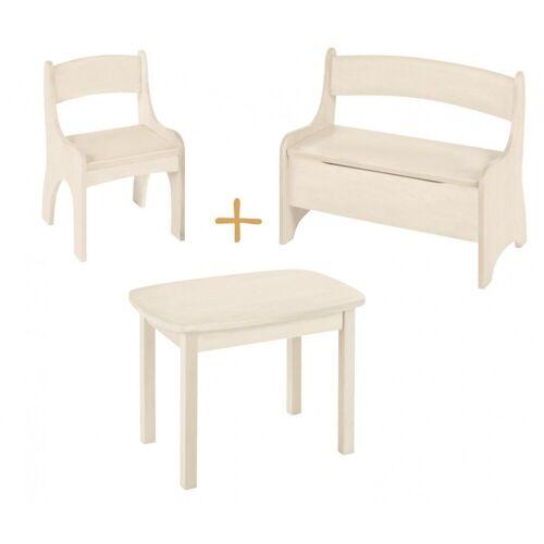 BioKinder - Das gesunde Kinderzimmer Kindersitzgruppe »Levin«, mit Tisch, Sitzbank und Stuhl, Sitzhöhe 30 cm, Weiß