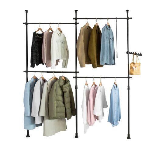 SoBuy Kleiderständer »KLS03«, Garderobenständer mit 4 Kleiderstangen verstellbares Regalsystem, schwarz