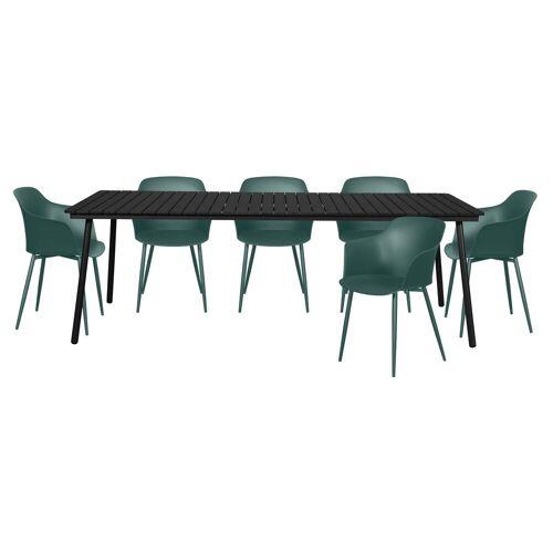 ebuy24 Gartenmöbelset »Gell Gartenmöbel Set 1 Tisch und 6 Stühle.«, schwarz, grün