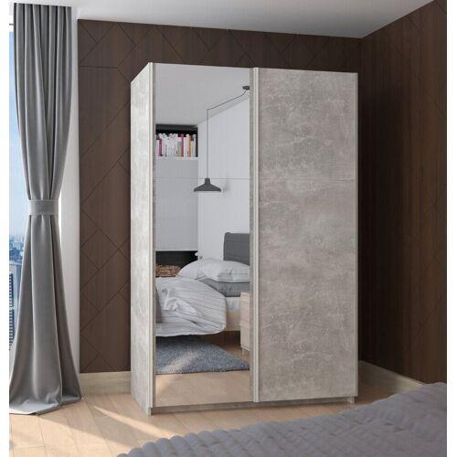 Küchen-Preisbombe Hochschrank »Kleiderschrank Schwebetürenschrank Schrank Schlafzimmer Beton 130 cm + Spiegel«