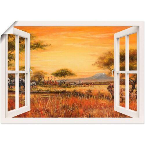 Artland Wandbild »Fensterblick Afrikanische Steppe Löwen«, Fensterblick (1 Stück)
