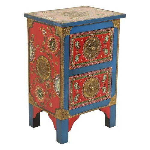 Casa Moro Nachtkommode »Orientalische handbemalte Kommode Shiva 40x30x60 (B/T/H)« (1 St), Handbemalt & Handbemalt