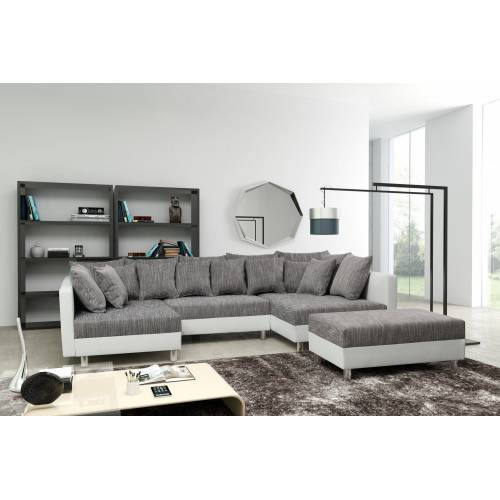 Küchen-Preisbombe Sofa »Sofa Couch Ecksofa Eckcouch in weiss / hellgrau Eckcouch mit Hocker - Minsk XXL«, Sofa in U-Form mit Hocker