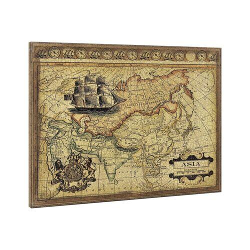 ART work Leinwandbild, Asien-Karte auf Leinwand 80x60 Gerahmt
