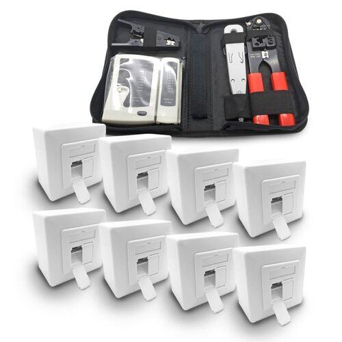 ARLI Netzwerk-Adapter, 8x Cat6a Netzwerkdose 2 Port + Werkzeugset / Crimpzange Rj45 + Tester + LSA + Kabelmesser Werkzeug Set