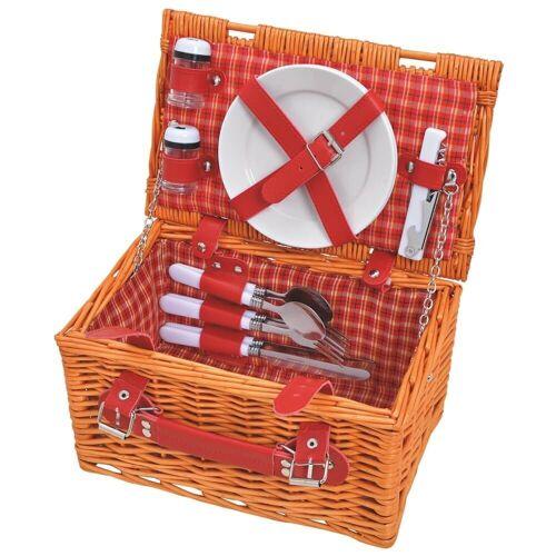 matches21 HOME & HOBBY Picknickkorb »Picknickkorb Weidenkorb 12-tlg. Rot / beige«, Für 2 Personen / Geschirr, Besteck, Zubehör