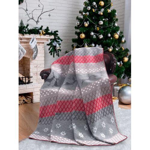 SEI Design Wohndecke »Weihnachten X-Mas Schneeflocke grau/rot«, , Plaid Kuscheldecke