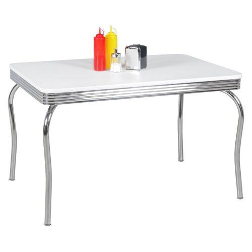 FINEBUY Esstisch »FB44878«, Esstisch KING 120 cm American Diner MDF Holz & Alu Esszimmertisch Design Küchentisch Retro USA Bistrotisch