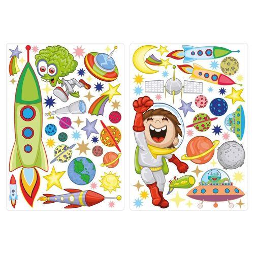 dekodino Wandtattoo »Astronaut im Weltraum mit Raketen« (1 Stück)