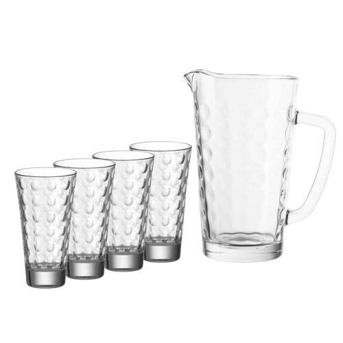 LEONARDO Gläser-Set »OPTIC Krug- und Becherset 5-teilig« (5-tlg)