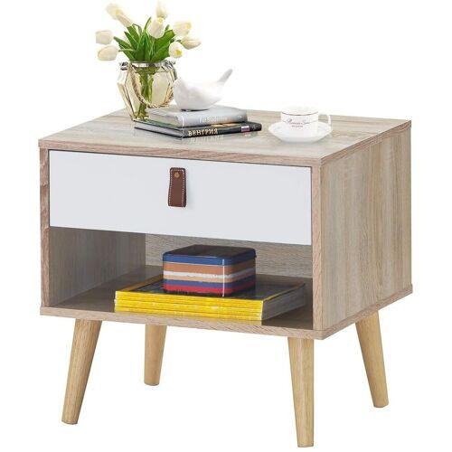 COSTWAY Nachttisch »Nachttisch«, mit Schublade und Regal, braun