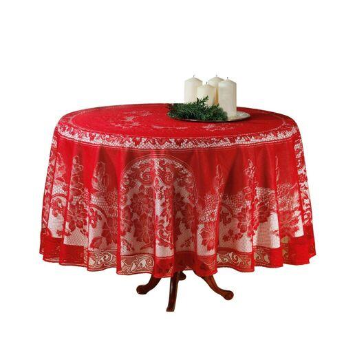dynamic24 Tischdecke, Spitzen Decke Ø 180cm rot Tisch Tafel Tuch Tischläufer rund