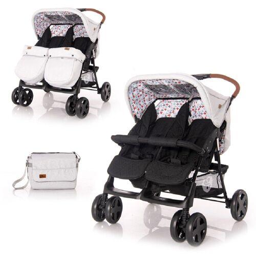 Lorelli Zwillingswagen »Zwillingskinderwagen TWIN«, Wickeltasche Einhand-Klappsystem Fußabdeckung, schwarz grau