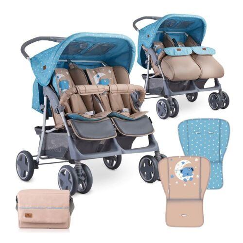 Lorelli Zwillingswagen »Zwillingskinderwagen TWIN«, Wickeltasche Einhand-Klappsystem Fußabdeckung, blau