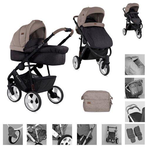 Lorelli Kombi-Kinderwagen »Kinderwagen 2 in 1 Monza«, EVA-Reifen, Babywanne, Sportsitz, Wickeltasche