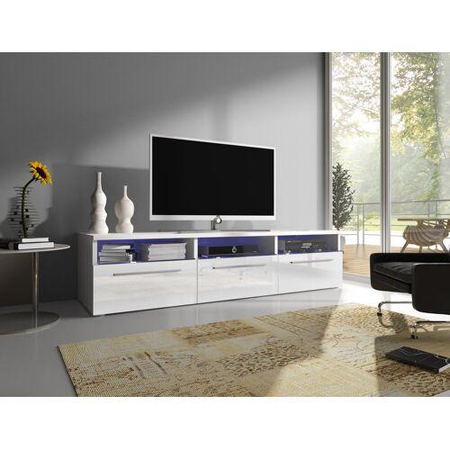 Baidani Lowboard, TV-Board »Designer TV-Board Depose«, mit LED und Stauraum in Hochglanz, Weiß/Weiß