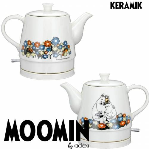 MOOMIN Wasserkocher 19130005 Keramik Wasserkocher by ADEXI Wasserkocher in Teekannen-Form, Mumin Design, Flower Pot Design, 0.80 l, 1750 W
