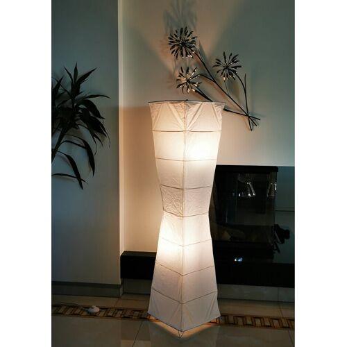 TRANGO LED Stehlampe, 1209 Papier Standleuchte *LADY* Reispapier Lampe in weiß *HANDMADE* inkl. 2x E14 Fassung I Form: konkav I Höhe ca. 123cm I Wohnzimmer Lampe, Lampenschirm aus Papier, Stehleuchte, LADY