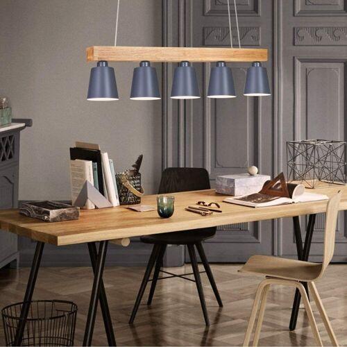 ZMH LED Pendelleuchte »esstisch 5-Flammig Holz und Metall E27«, Grau