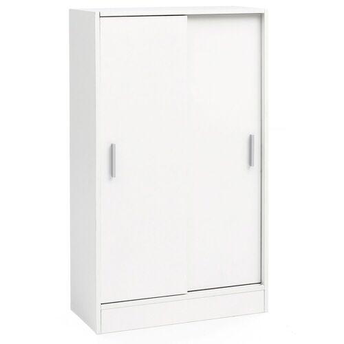 FINEBUY Sideboard »FB51842«, Kommode Weiß 60 cm Breit mit 2 Schiebetüren für Büro Akten Schiebetürenschrank Aktenschrank Sideboard Kleiderschrank