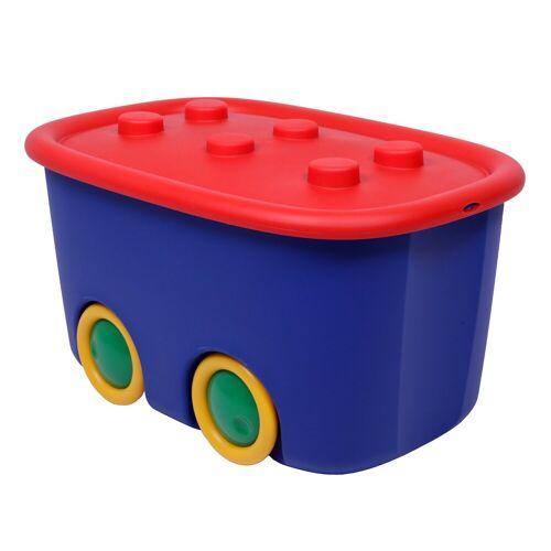 ONDIS24 Aufbewahrungsbox »Spielzeugaufbewahrungsbox Spielzeugkiste Aufbewahrungsbox Kinder Spielzeugbox Funny mit großen Rädern und aufliegendem Deckel, rot blau«, 46 liter, Rot Blau