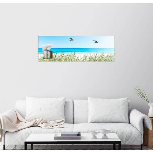 Posterlounge Wandbild, Premium-Poster Strandkorb Idyll an der Ostsee