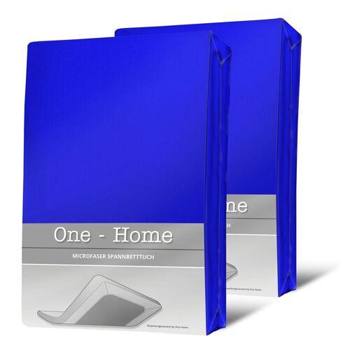One Home Spannbettlaken »Mikrofaser«, , Double Pack mit Rundumgummizug, blau