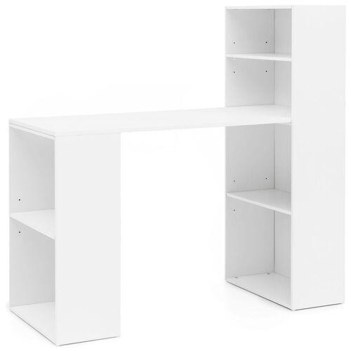 FINEBUY Schreibtisch »SuVa13498_1«, Schreibtisch mit Regal 120x120x53 cm Holz Modern Schreibtischregal Ablagefächer PC Tisch Computertisch mit Ablage Weißer Design Tisch Büro mit Aufbewahrung, Weiß