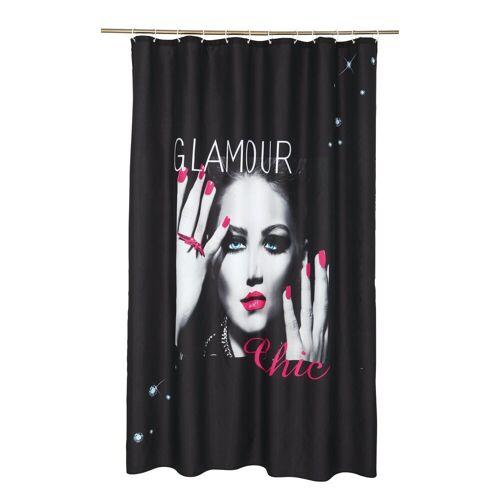 dynamic24 Duschvorhang Breite 180 cm, Textil Wannenvorhang Motiv Glamour Chic 180x200 Dusche Vorhang Badewannenvorhang