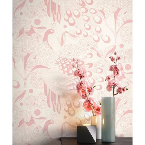 Newroom Vliestapete, Weiß Tapete Modern Pfau - Tiertapete Mustertapete Rosa Tropisch Exotisch Vogel Feder für Wohnzimmer Schlafzimmer Küche, weiß