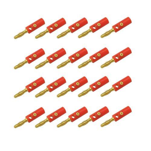 ARLI Audio-Adapter Bananen zu Rohkabel, 20x Bananen Stecker rot, rot
