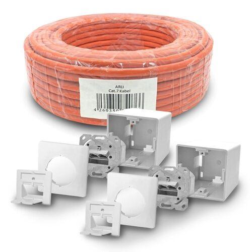 ARLI Netzwerk-Adapter, Cat7 Verlegekabel 50 m S/FTP PIMF Halogenfrei Netzwerkkabel + 2x Cat6a Netzwerkdose Set