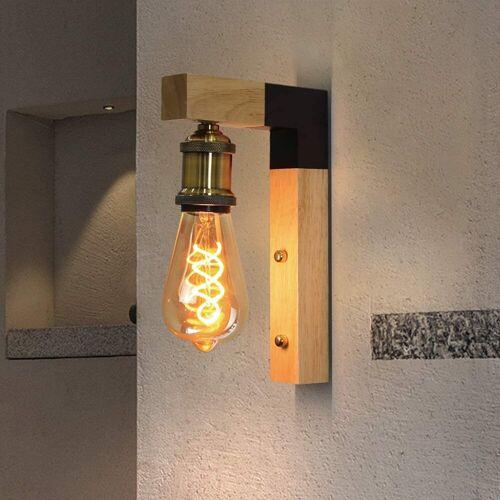 ZMH Wandleuchte »innen aus Holz vintage Wandlampe Rustikal E27«
