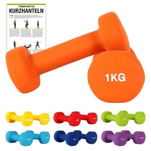MSports® Hantel »Hantelset Neopren 2er Set 0,5 – 5 kg Paar inkl. Übungsposter Kurzhanteln«, 1 kg - Orange
