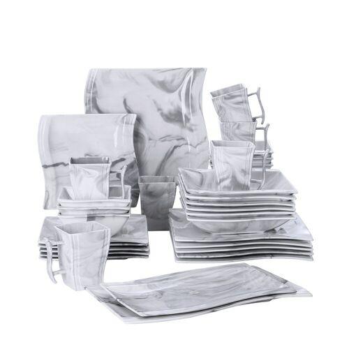 MALACASA Kombiservice »FLORA« (32-tlg), Porzellan, 32 Tlg. Marmor Porzellan Geschirrset