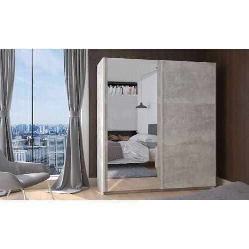 Küchen-Preisbombe Hochschrank »Kleiderschrank Schwebetürenschrank Schrank Schlafzimmer Beton 170 cm + Spiegel«