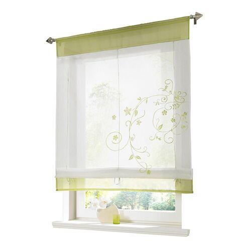 i@home Raffrollo »Bestickt Raffgardine Vorhang Gardine Fenstervorhang Scheibengardinen«, , mit Schlaufen, Grün