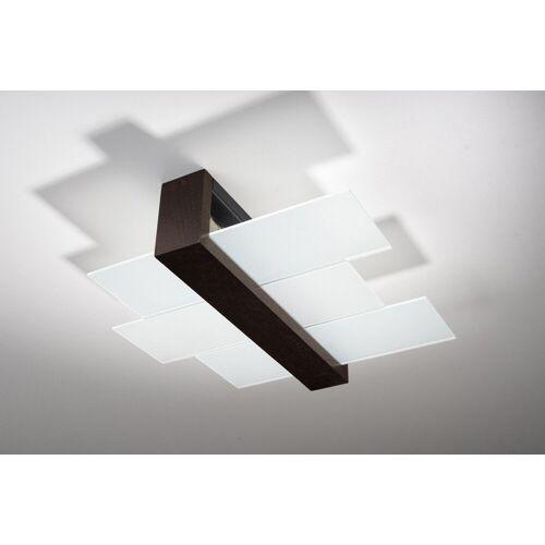 Licht-Erlebnisse Deckenleuchte »LEDA Moderne Deckenlampe Braun Klar kunstvoll Flurlampe Holzleuchte Lampe«