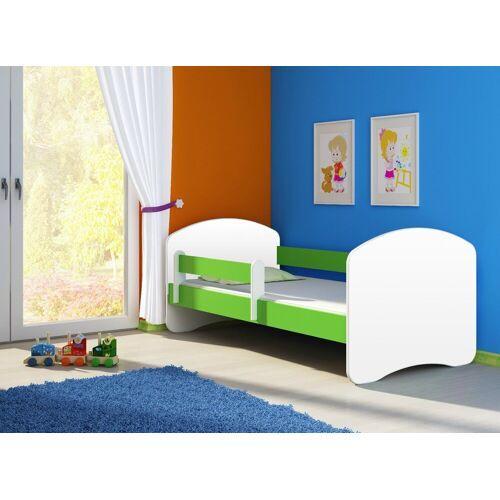 Clamaro Kinderbett (Kinderbett Fantasia, weiss mit farbigem Seitenteil, Kinder, Bett, mit oder ohne Schublade), 03 Grün