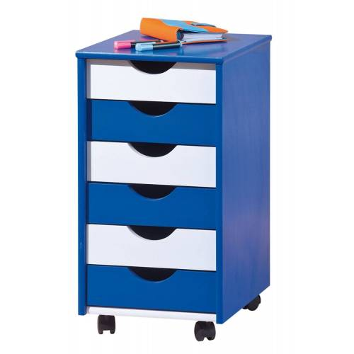 ebuy24 Kommode »Bepe Kommode Rollcontainer, 6 Schubladen blau, wei«