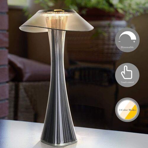 ZMH Nachttischlampe »Dimmbar Tischleuchte in 3 Helligkeitsstufen AKKU«, Rauchgrau
