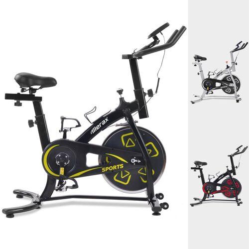 Merax Speedbike, Heimtrainer Fahrrad, Indoor Cycle, mit LCD-Konsole, Schwarz-Gelb