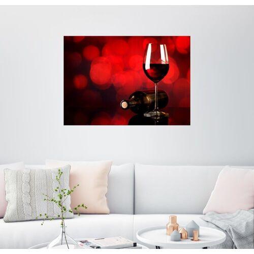 Posterlounge Wandbild, Rotwein im Weinglas und Flasche
