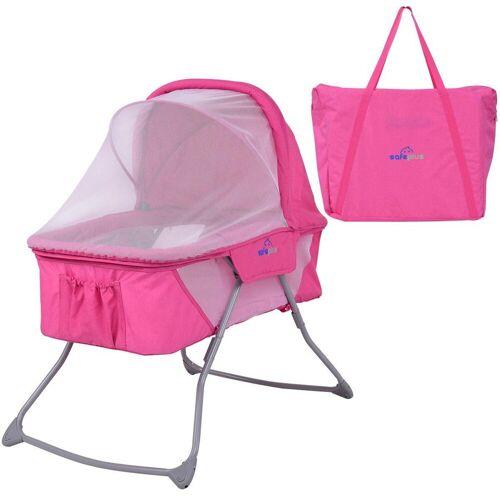 COSTWAY Baby-Reisebett »Stubenwagen Babybett«, inkl. Moskitonetz&Matratze&Tasche Rosa, Pink