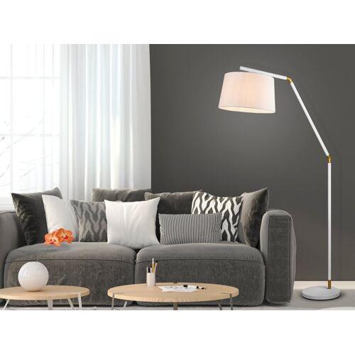 TRIO LED Stehlampe, mit Stoff-Lampenschirm Weiß, große Bogen-Lampe für über Esstisch gebogen, schöne stehende Leselampe Wohnzimmer-Lampe, Weiß-Gold