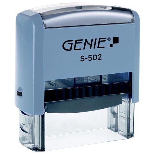 GENIE Stempel »S-502 Selbstfärbender Stempel Set«, Stempelset zum selbstsetzen, Stempelautomat selbstfärbend, Firmenstempel, Adressstempel, Bürostempel, 5 Zeilen, Inklusive Pinzette, Stempelfarbe schwarz, einfacher auszutauschen