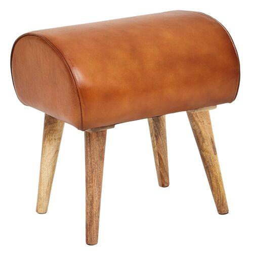 FINEBUY Sitzhocker »FB54116«, Sitzhocker Echtleder / Massivholz 45 x 53 x 40 cm Moderner Lederhocker Kleiner Holzhocker Gepolstert Turnbock Hocker mit Leder-Bezug