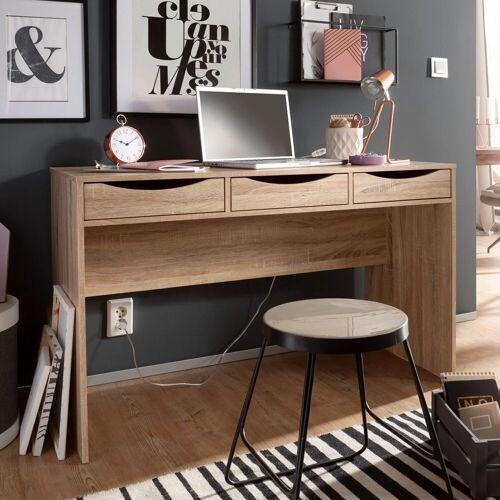 FINEBUY Schreibtisch »FB44268«, Schreibtisch 120 cm Design Büro-Tisch in Sonoma Eiche Moderner Computer-Tisch mit 3 Schubladen und Stauraum Platzsparender Jugend-Schreibtisch auch für Laptop geeignet